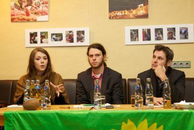 v.l.n.r.: Julia Schramm, Matthi Bolte, padeluun - Foto: Dominic Hallau